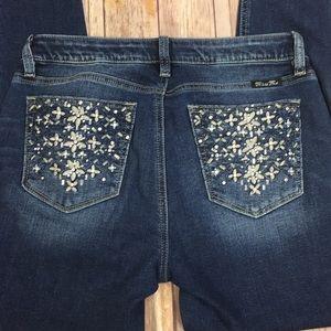 Miss Me Floral Rhinestone Gem Skinny Jeans 28